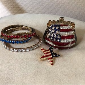 Jewelry - Patriotic bracelets, pin and mini jewel box bundle